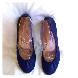 J Crew Blue Leather Ballet Flats Size 8.5